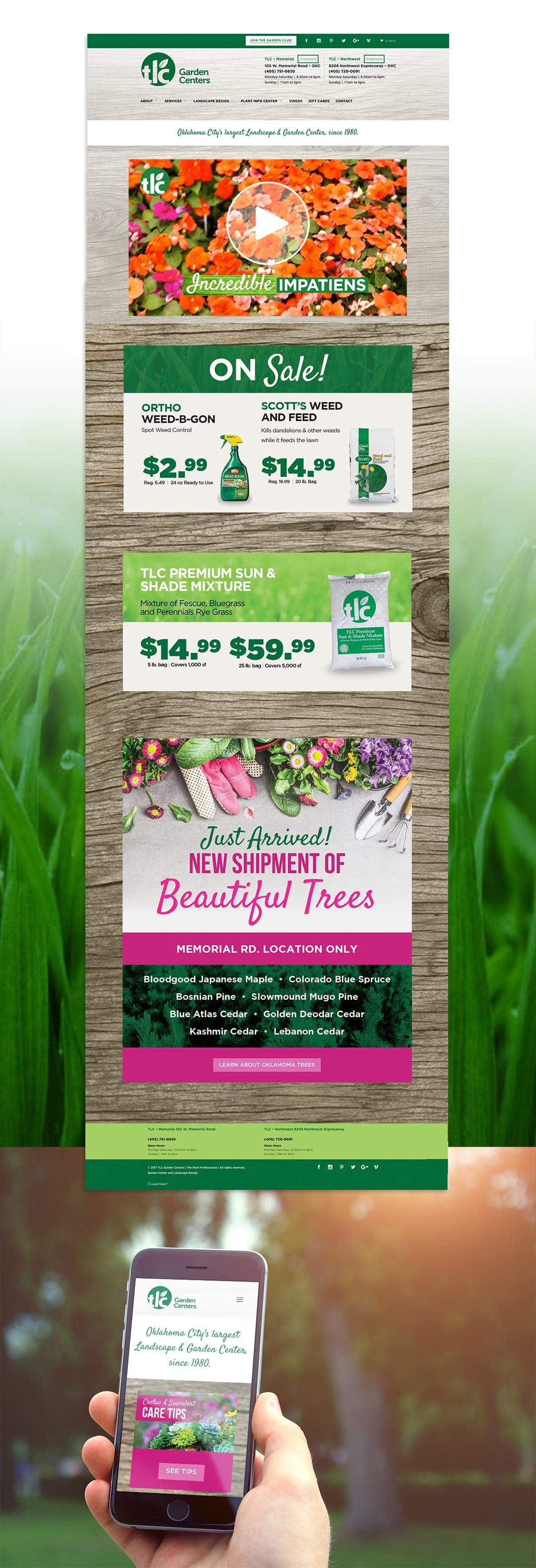 TLC Garden Centers Website Design by Liquid Media