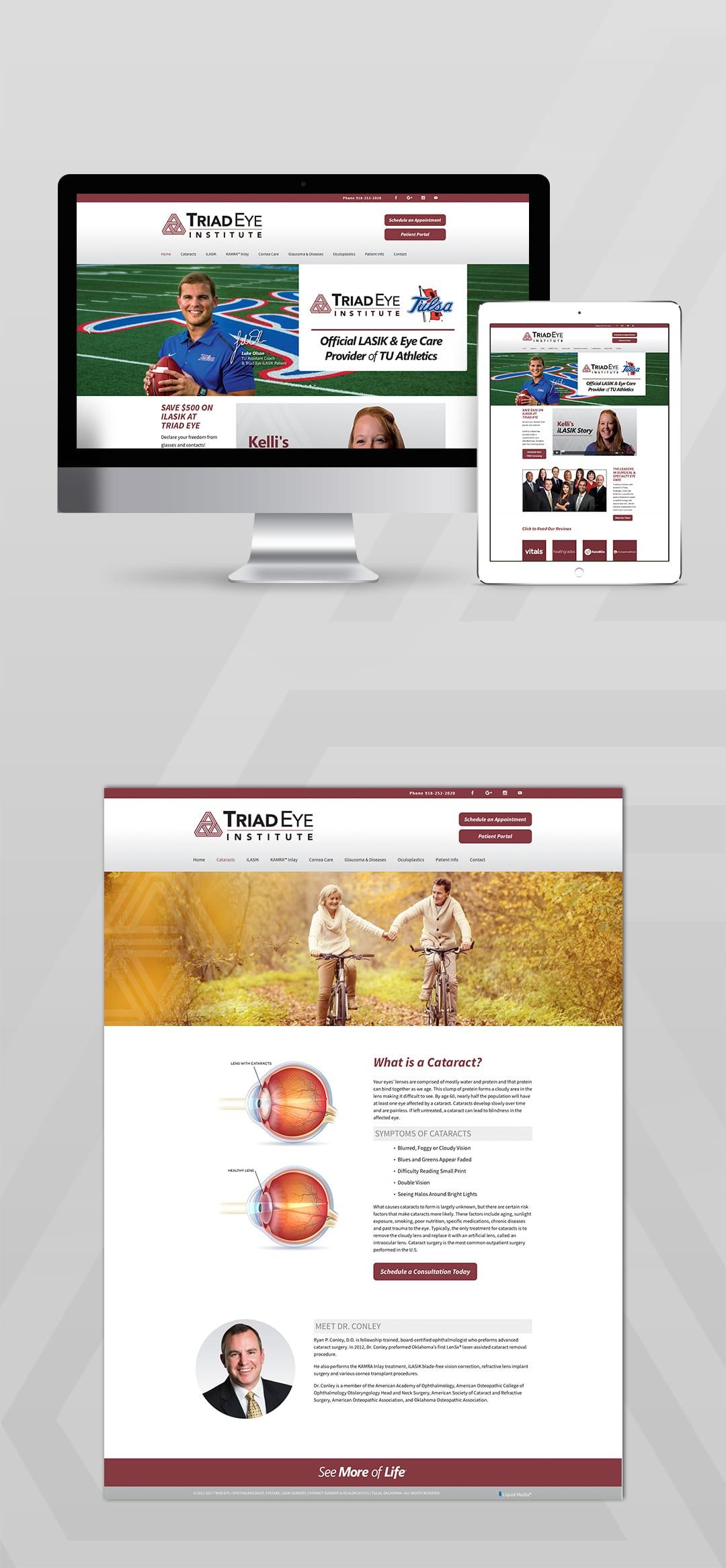 Triad Eye Institute Website Design by Liquid Media
