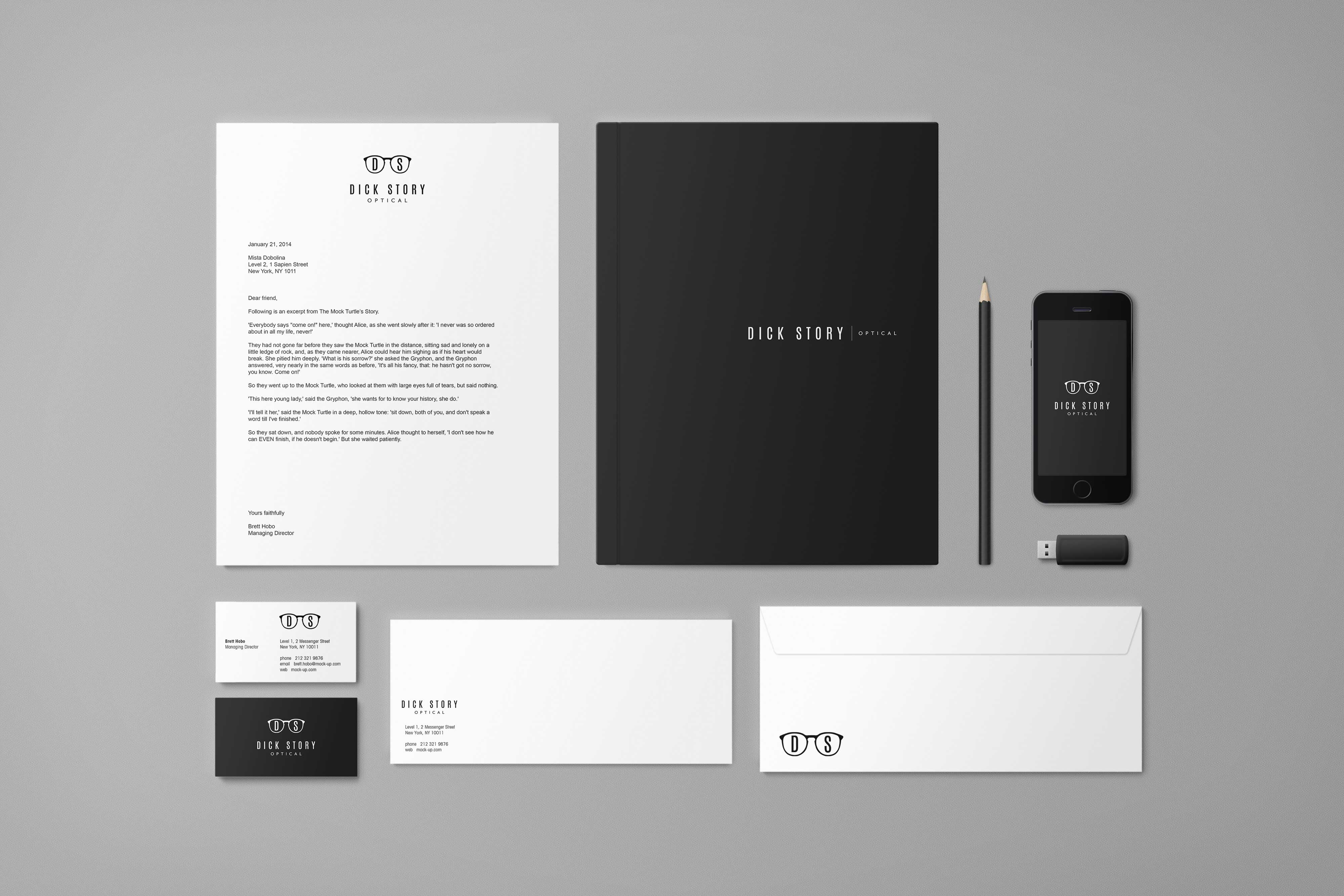Dick Story Optical Collateral Design by Liquid Media