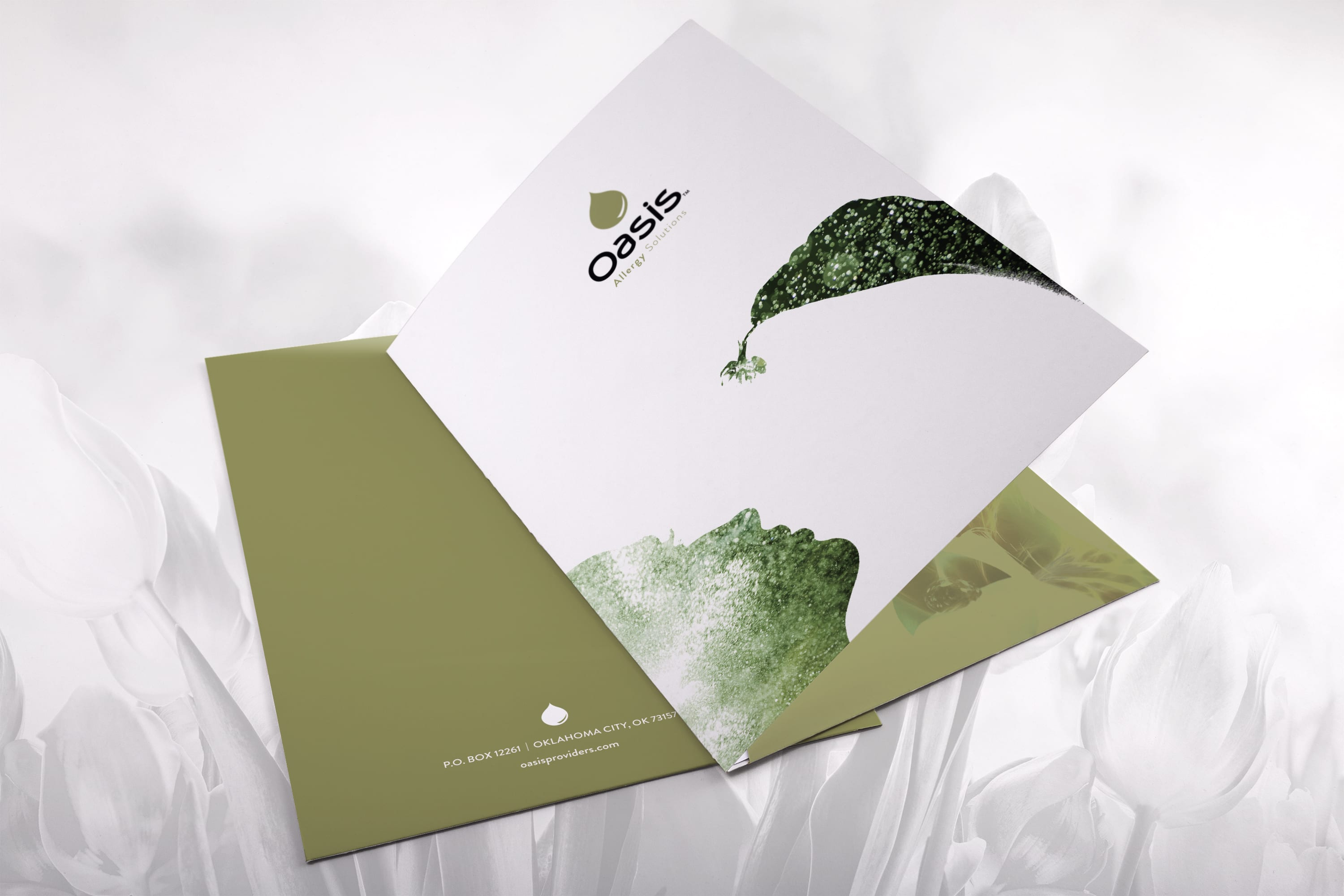 Oasis Allergy Folder Designed by Liquid Media